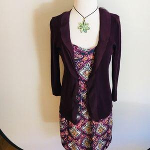 LOFT Purple Ruffled Cardigan Sweater Size XS
